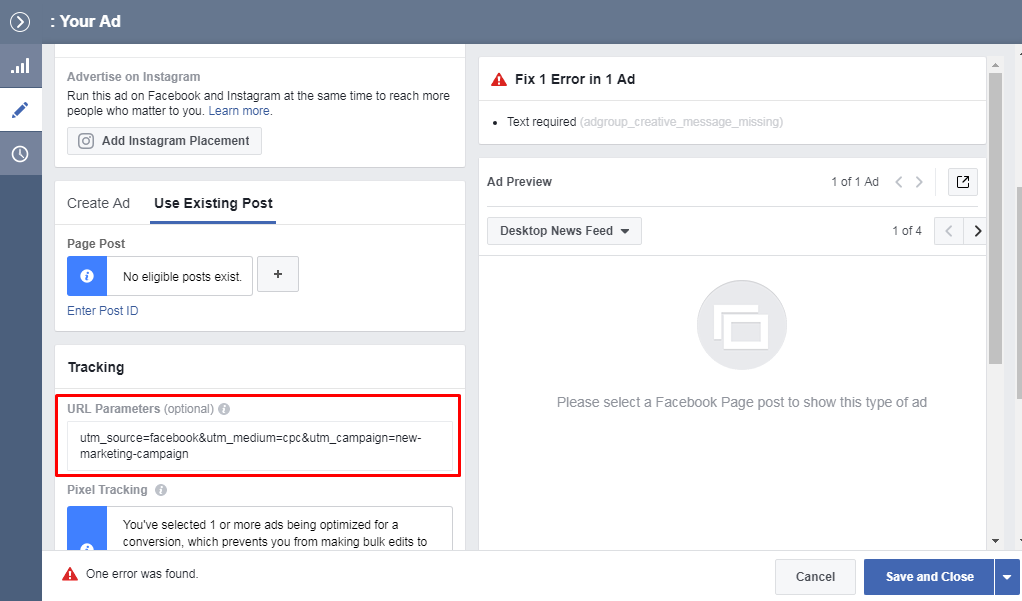 UTM-Marks in Facebook Ads help to attribute sessions and